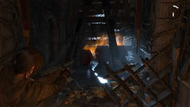 After you make it through the long corridor, you will get into a dead end - Find a way down into the archives | Glimpses - Glimpses - Rise of the Tomb Raider Game Guide & Walkthrough