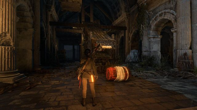 By the yard entrance, turn right and you will reach the spot shown in the below screenshot - Find a way to escape with the Atlas | Rising Tide - Rising Tide - Rise of the Tomb Raider Game Guide & Walkthrough