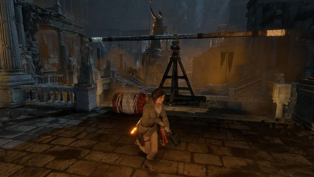 Lara will tie up the balance beam with the barrel - Find a way to escape with the Atlas | Rising Tide - Rising Tide - Rise of the Tomb Raider Game Guide & Walkthrough