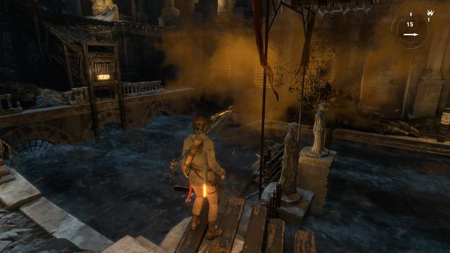 At the other side of the yard, there is another balance beam - Find a way to escape with the Atlas | Rising Tide - Rising Tide - Rise of the Tomb Raider Game Guide & Walkthrough