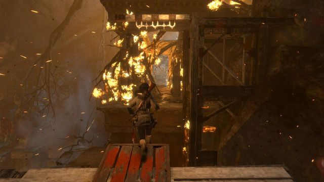 You need to follow the scripted path and jump over rifts - Escape to safety | Escape the Archive - Escape the Archive - Rise of the Tomb Raider Game Guide & Walkthrough