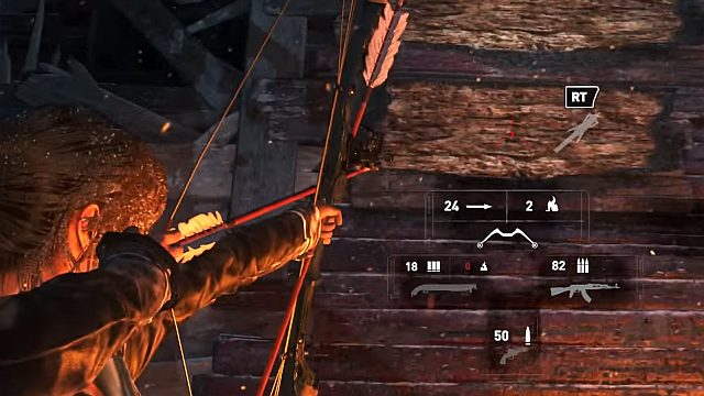 Lara uses broadhead arrows automatically, after you aim at wooden surfaces - Follow the Trinity helicopter to the old Soviet base | The Rescue - The Rescue - Rise of the Tomb Raider Game Guide & Walkthrough