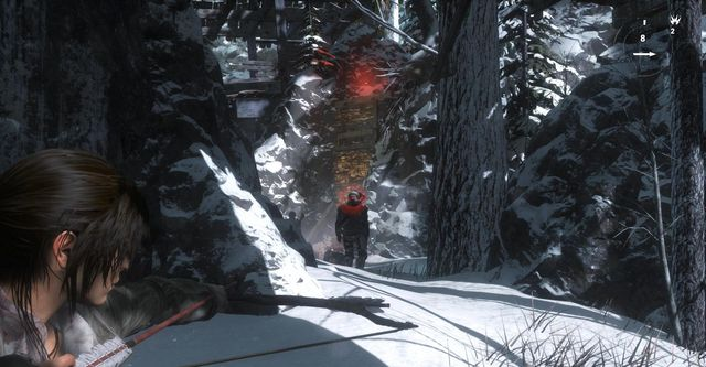 You can eliminate single opponents with bow and arrows, aimed to the head - Find your way through the forest and find your way to the Trinity base | Tracking Down Trinity - Tracking Down Trinity - Rise of the Tomb Raider Game Guide & Walkthrough