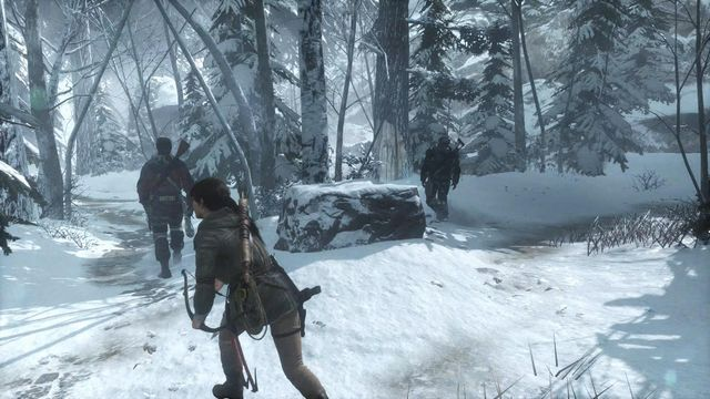 Watch out for the guards, for the whole time - Find your way through the forest and find your way to the Trinity base | Tracking Down Trinity - Tracking Down Trinity - Rise of the Tomb Raider Game Guide & Walkthrough