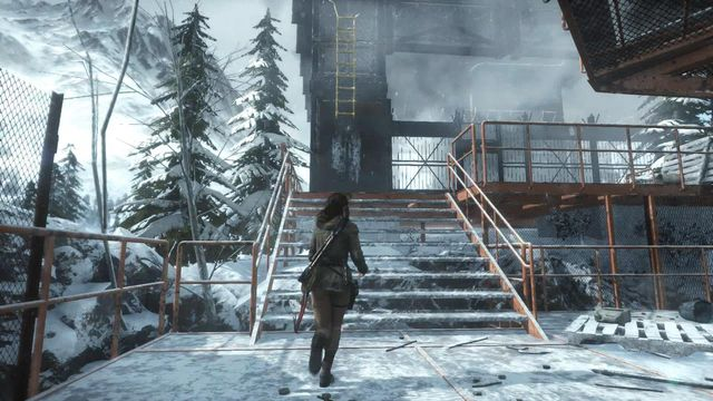 Climb inside, over the yellow ladder - Enter the Meteorological Station | Tracking Down Trinity - Tracking Down Trinity - Rise of the Tomb Raider Game Guide & Walkthrough