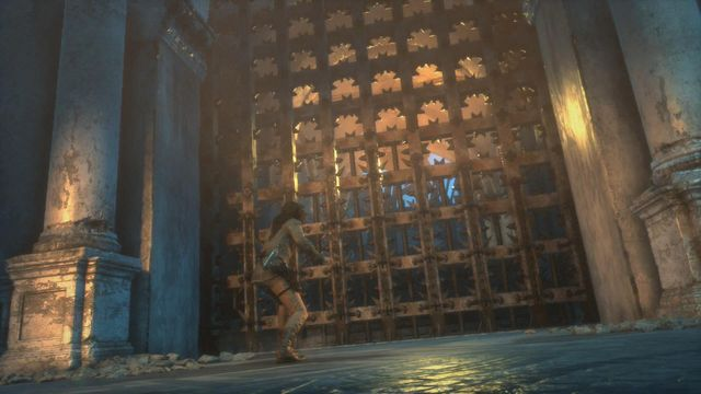 After you reach the gate, it will be shut close and you will get under fire from the trebuchet at the other side of the location - Get through the first gate | The Frozen City - The Frozen City - Rise of the Tomb Raider Game Guide & Walkthrough
