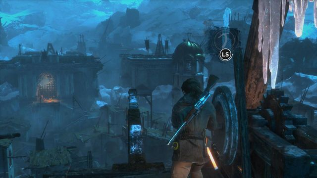 Using the hatchet, turn the trebuchet to make the long projecting beam point towards the gate at the other side of the location - Get through the first gate | The Frozen City - The Frozen City - Rise of the Tomb Raider Game Guide & Walkthrough