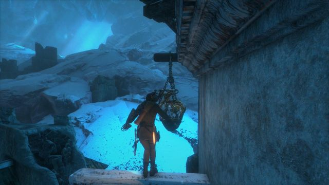 Climb up the tower and jump towards the object hanging on chains which, after it turns allows you to go higher - Go to the other trebuchet | Gate Crasher - Gate Crasher - Rise of the Tomb Raider Game Guide & Walkthrough