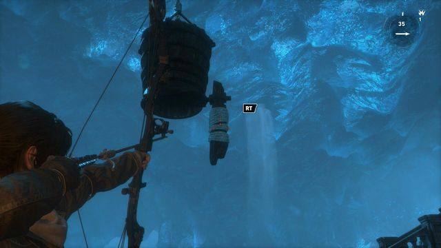 Now, walk over into the position, where you can see the bucket well - Go to the other trebuchet | Gate Crasher - Gate Crasher - Rise of the Tomb Raider Game Guide & Walkthrough