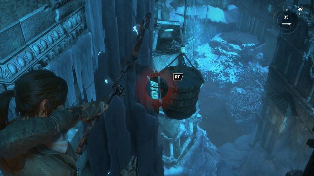Again, walk over to the other side of the connected towers and shoot at the valve of the bucket, to make the arm of the balance beam get into the horizontal position - Go to the other trebuchet | Gate Crasher - Gate Crasher - Rise of the Tomb Raider Game Guide & Walkthrough
