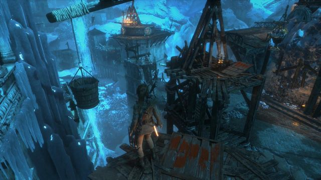 Now, jump onto the base of the balance beam and jump down onto the metal container - Go to the other trebuchet | Gate Crasher - Gate Crasher - Rise of the Tomb Raider Game Guide & Walkthrough