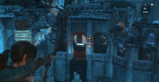 At the end of the bridge, attach rope over which you can zipline towards the gate - Cross the bridge | Gate Crasher - Gate Crasher - Rise of the Tomb Raider Game Guide & Walkthrough