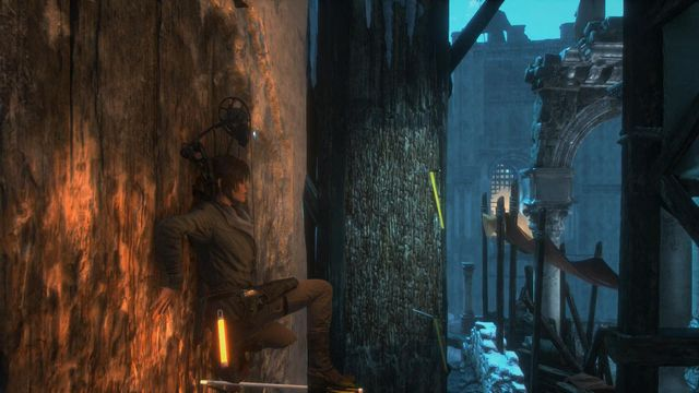 Jump onto the arrow and drive another one into the structure, just like in the screenshot - Climb the tower | You Shall Not Pass - You Shall Not Pass - Rise of the Tomb Raider Game Guide & Walkthrough