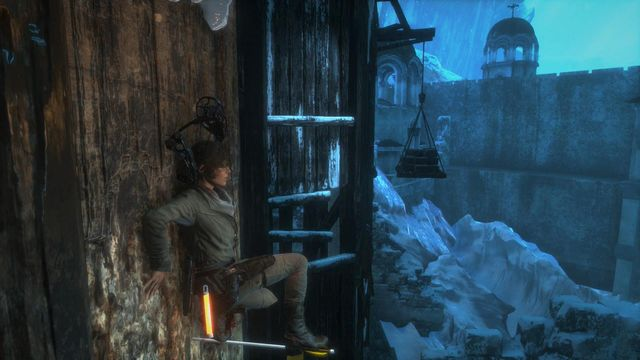 From here, you can jump over towards the white planks - Climb the tower | You Shall Not Pass - You Shall Not Pass - Rise of the Tomb Raider Game Guide & Walkthrough