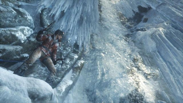 Once you regain control of Lara, go right, then jump on the icy fragment of the wall - Get to the top of the mountain | Siberian Wilderness - Passageway - Siberian Wilderness - Passageway - Rise of the Tomb Raider Game Guide & Walkthrough