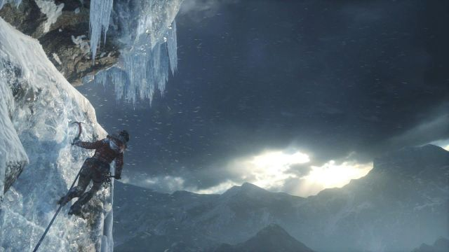 Perform another long jump right after another cutscene and quickly press the X button so that Lara will stick the axe into the ice wall on the other side - Get to the top of the mountain | Siberian Wilderness - Passageway - Siberian Wilderness - Passageway - Rise of the Tomb Raider Game Guide & Walkthrough