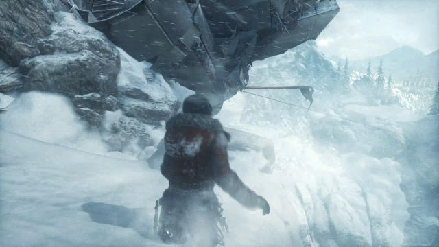 At the end of the plane wreck, jump up to catch the metal rod pointing from the tail of the machine - Get to the top of the mountain | Siberian Wilderness - Passageway - Siberian Wilderness - Passageway - Rise of the Tomb Raider Game Guide & Walkthrough