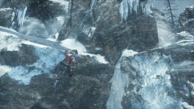 Once Lara will hang on the edge of the rock, quickly jump right using the axe - Get to the top of the mountain | Siberian Wilderness - Passageway - Siberian Wilderness - Passageway - Rise of the Tomb Raider Game Guide & Walkthrough