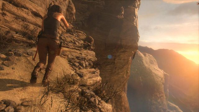 After the cutscene showing a chopper chasing Laras and her guides jeep, the heroin will fall down and land on a rock ledge - Find the ruins among the cliffs | Syria - Lost tomb - Syria - Lost tomb - Rise of the Tomb Raider Game Guide & Walkthrough