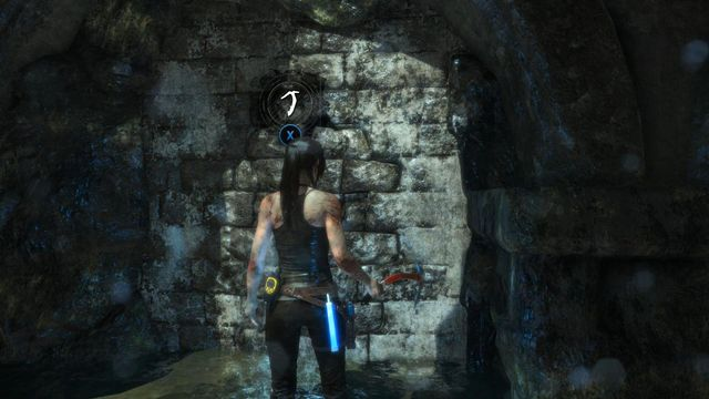 Now, jump into the water and walk towards the wall on the left - Search the tombs corridors | Syria - Lost tomb - Syria - Lost tomb - Rise of the Tomb Raider Game Guide & Walkthrough