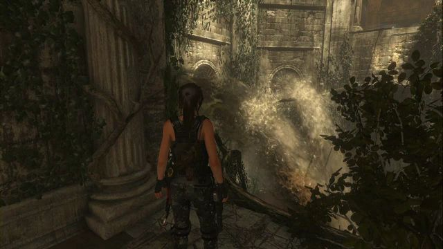 At the other side (the screenshot), climb onto the root and follow it slowly, in order to avoid water flowing out of the pipes - Tomb - Baths of Kitezh [5/9] | Geothermal Valley - Geothermal Valley - Rise of the Tomb Raider Game Guide & Walkthrough