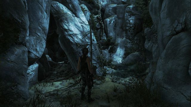 A bit past the brook, prepare to jab the hatchet quickly. - Tomb - Pit of Judgment [7/9] | Geothermal Valley - Geothermal Valley - Rise of the Tomb Raider Game Guide & Walkthrough