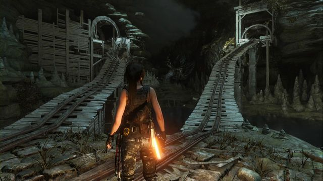 First handle the first cart on the right. - Tomb - Pit of Judgment [7/9] | Geothermal Valley - Geothermal Valley - Rise of the Tomb Raider Game Guide & Walkthrough