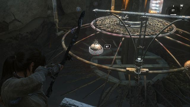 While standing on the edge of the ground, fire at the first orb wound with rope and Lara will turn the first balance beam by 90 degrees - Use the planetarium to open the entrance to Kitezh | Path of the Deathless - Path of the Deathless - Rise of the Tomb Raider Game Guide & Walkthrough