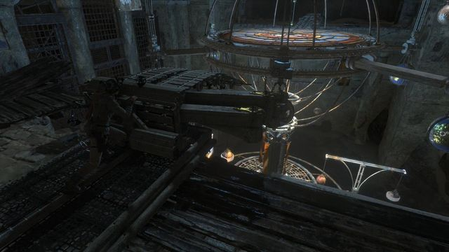 Lara will get to the middle level of the planetarium - Use the planetarium to open the entrance to Kitezh | Path of the Deathless - Path of the Deathless - Rise of the Tomb Raider Game Guide & Walkthrough