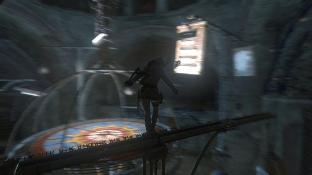 While on the turning beam that you have just dropped onto, you need to jump over onto the next turning element - seen in the screenshot - and climb onto another beam over it - Use the planetarium to open the entrance to Kitezh | Path of the Deathless - Path of the Deathless - Rise of the Tomb Raider Game Guide & Walkthrough