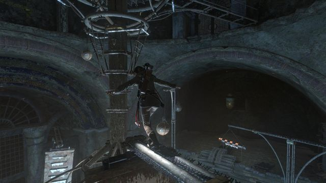 The beam keeps turning, but when you get opposite the central part of the planetarium, which is the huge wooden pole, jump over onto it and climb higher - Use the planetarium to open the entrance to Kitezh | Path of the Deathless - Path of the Deathless - Rise of the Tomb Raider Game Guide & Walkthrough