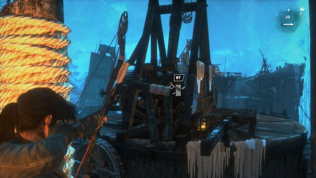 After you do that, stand next to the pole wound with rope and shoot an arrow at the horizontal plank that is blocking the trebuchets arm - Find a way to destroy the gate | Gate Crasher - Gate Crasher - Rise of the Tomb Raider Game Guide & Walkthrough