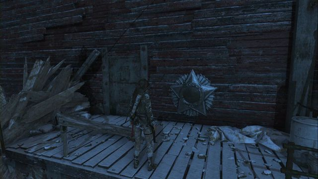Above the Copper Mill camp, after you receive broadhead arrows, which you can use to get higher (the level above the campfire) - Murals | Soviet Installation - Soviet Installation - Rise of the Tomb Raider Game Guide & Walkthrough