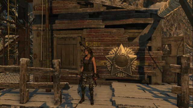 On the wooden wall of the Supplies store, close to the campfire in the Communications Tower camp - Murals | Soviet Installation - Soviet Installation - Rise of the Tomb Raider Game Guide & Walkthrough
