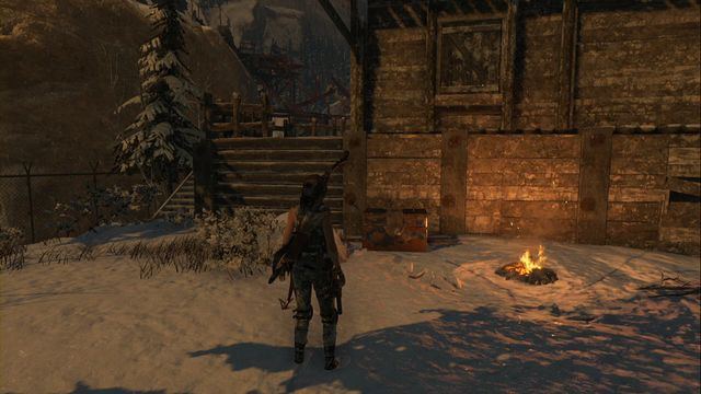 At the campfire in Logging Camp - Chests and crypt treasures | Soviet Installation - Soviet Installation - Rise of the Tomb Raider Game Guide & Walkthrough