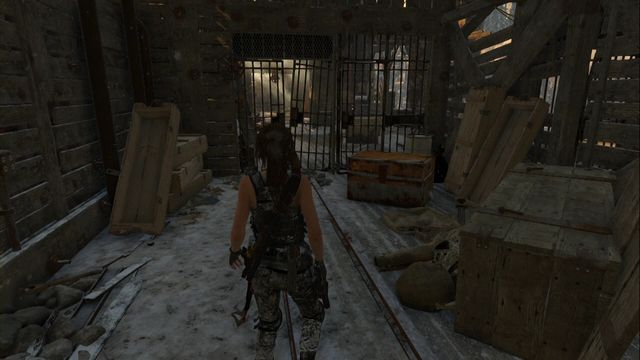 Before you enter the Red Mines tomb- standing in front of the grate, you can see the entrance to your left (you can climb up) - Chests and crypt treasures | Soviet Installation - Soviet Installation - Rise of the Tomb Raider Game Guide & Walkthrough