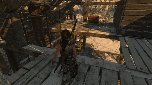 At the upper level of the wooden building - Chests and crypt treasures | Soviet Installation - Soviet Installation - Rise of the Tomb Raider Game Guide & Walkthrough