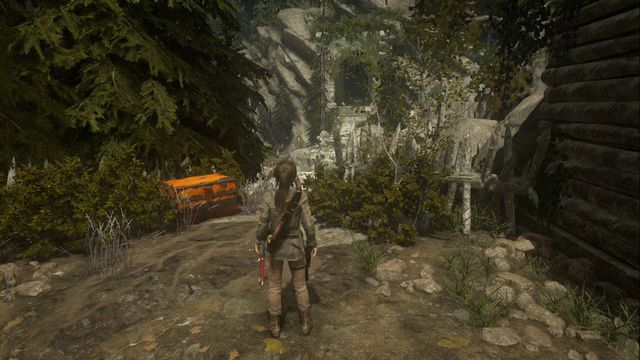 During the main storyline, you find it along your path to the tower, after the defense of the valley, in front of the destroyed bridge - Chests and crypt treasures | Geothermal Valley - Geothermal Valley - Rise of the Tomb Raider Game Guide & Walkthrough