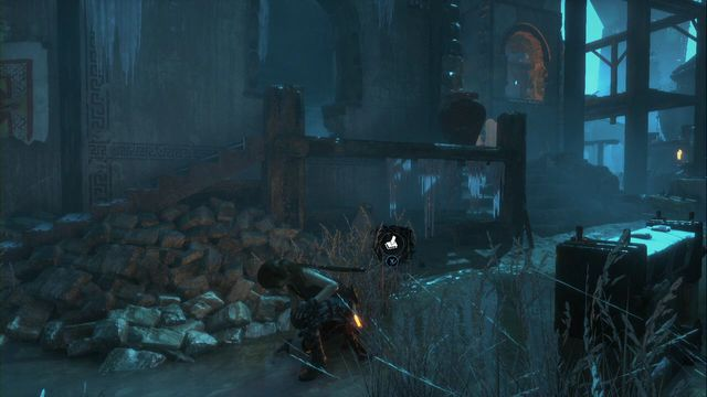 Near the monolith, by the heap of stones in front of one of the buildings - Murals and chests | Lost City - Lost City - Rise of the Tomb Raider Game Guide & Walkthrough