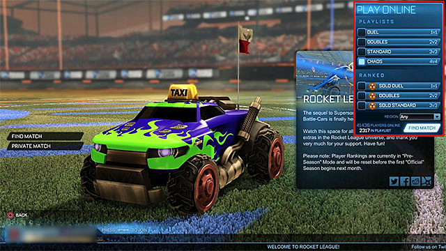 You can choose the preferred settings before allowing the game to begin the search for an online match - Game modes - Rocket League - Game Guide and Walkthrough