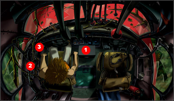In the cabin between the seats Brian found a central glove compartment (#1) - Getting out of the jungle - Chapter I: Trapped in the jungle - Runaway 2: The Dream of the Turtle - Game Guide and Walkthrough