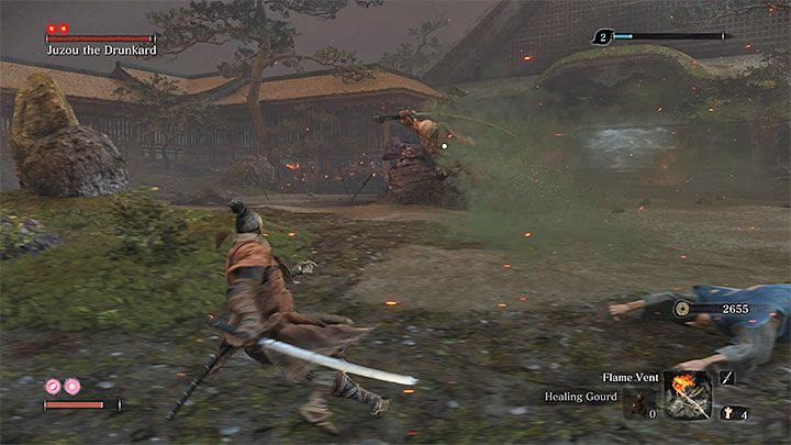 The boss can inflict poison damage in two ways - Juzou can create a poisonous cloud around himself (see the picture above), or he can apply poison to his weapon - Juzou the Drunkard | Sekiro Shadows Die Twice Boss Fight - Bosses - Sekiro Guide and Walkthrough