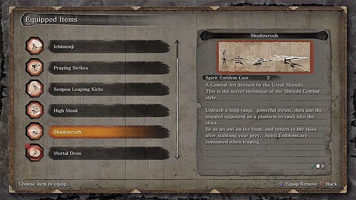 As you progress through the game, you can access new Combat Arts - Character Development in Sekiro Shadows Die Twice - Basics - Sekiro Guide and Walkthrough