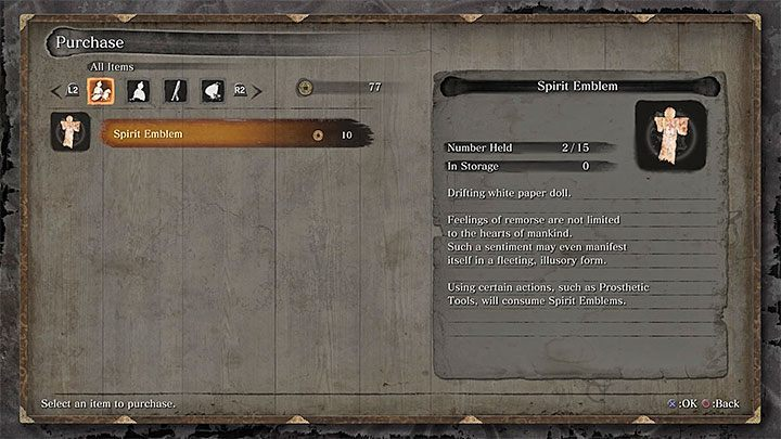 The Spirit Emblems - are a very important resource in Sekiro, allowing you to use - Character Development in Sekiro Shadows Die Twice - Basics - Sekiro Guide and Walkthrough
