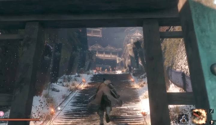 General Kuranosuke Matsumoto stays in front of the main entrance to Ashina Castle - at the top of the stairs, surrounded by soldiers with rifles - General Kuranosuke Matsumoto | Sekiro Shadows Die Twice Boss Fight - Bosses - Sekiro Guide and Walkthrough