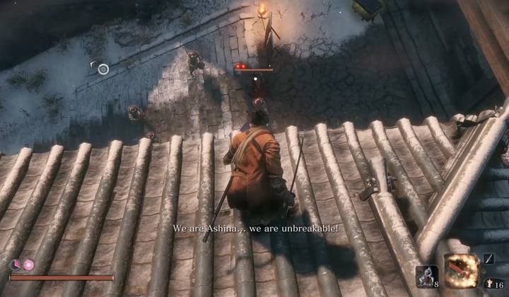 You can perform the first Deathblow by jumping down on the general from the rooftop of the building on the left - General Kuranosuke Matsumoto | Sekiro Shadows Die Twice Boss Fight - Bosses - Sekiro Guide and Walkthrough