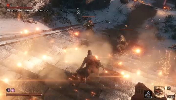 Blind the soldiers with rifles and then eliminate them fast. - General Kuranosuke Matsumoto | Sekiro Shadows Die Twice Boss Fight - Bosses - Sekiro Guide and Walkthrough