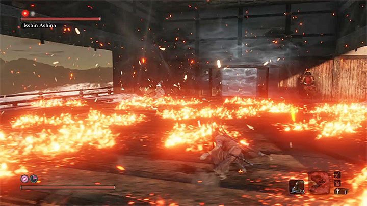 After advancing to the second stage of the battle, Isshin will receive new skills, namely fire attacks - Isshin Ashina | Sekiro Shadows Die Twice Boss Fight - Bosses - Sekiro Guide and Walkthrough