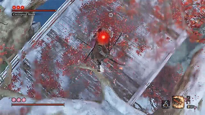 Turn around to face the boss - she is standing below you - True Corrupted Monk | Sekiro Shadows Die Twice Boss Fight - Bosses - Sekiro Guide and Walkthrough