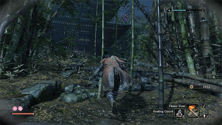 Reach the house on the hill (see the picture above) - Unnamed masked purple enemy | Sekiro Shadows Die Twice Boss Fight - Bosses - Sekiro Guide and Walkthrough